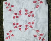 Vintage Cross-Stitched Leaves Tablecloth