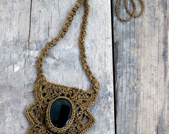 Statement gypsy necklace, Boho Jade necklace, Woman brown necklace, Tribal Unique necklace, Art to wear jewelry, Crochet Handmade necklace
