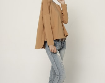 Lagenlook Fashionable Cotton Top in Camel for Women - NC524