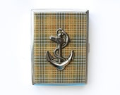 Plaid Anchor Cigarette Case Metal Etched Business Card Holder Wallet Nautical Travel Mens Smoker Gift Tobacciana Case