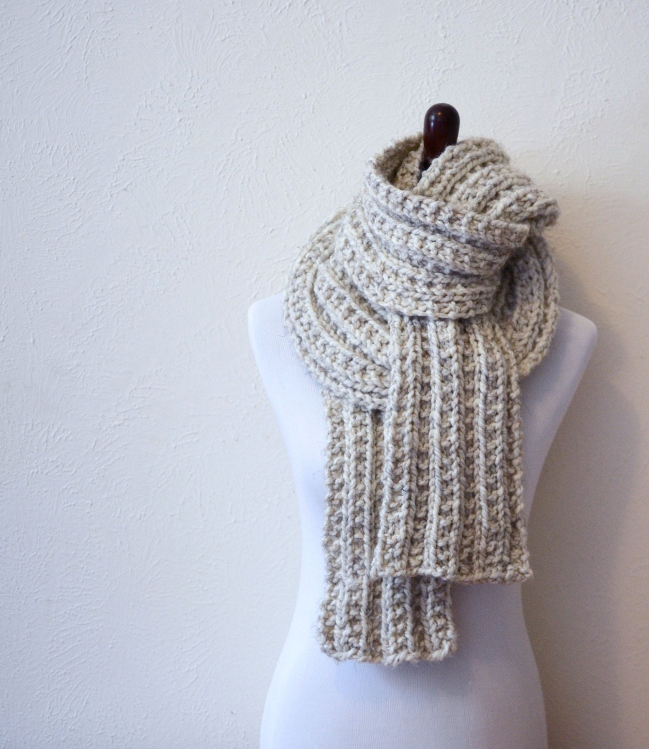 Knitting Chunky Scarves : Chunky knit scarf hand knitted by