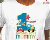 Transportation Birthday Shirt - Planes, Trains and Automobile Birthday Shirt - ANY AGE - Birthday Boy's Mommy Shirt or Daddy Shirt
