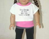 Female= Iron man  handmade to fit  18 inch play scale dolls such as American Girl® or similar dolls. Tank top, slouchy tee, and yoga pants