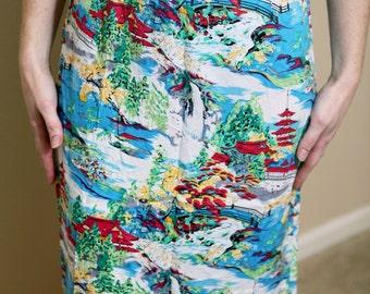 Tropical Asian Skirt Vintage high waist cotton women's beach s small