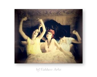 """Surreal Photography Art Print, Sisters, Vintage Bedroom Decor, Altered Art, Vintage Ephemera, """"Sisters Awake"""""""