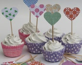 CLEARANCE 50% off - Cupcake topper - food pick - tooth pick heart shaped mixed colors - 20 pcs