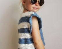 Crochet Pattern: The Alana T Shirt-6 Sizes Child XS, S, M Adult XS, S, M-hi lo hem, stripes, shirt, summer, cropped