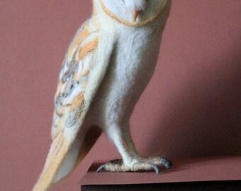 EXAMPLE WORK Barn Owl, Needle felted bird, Woollen soft sculpture, Wool figurine, Felt toy, Handmade OOAK art doll, Felted animal plushi