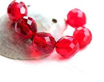 12mm round beads, Red beads, Czech Glass, fire polished, faceted, large rounds, red glass beads - 6Pc - 1065