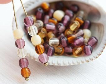 Beads mix, round czech beads, Purple, Amber Yellow, Topaz glass spacers, druk - 4mm - approx.80Pc - 2332