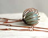 Vintage cage necklace. Copper cage with turquoise bead and long bar necklace. Genuine vintage, modern geometric jewelry for her.