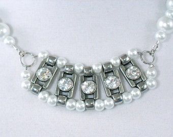 White Pearl, Silver and Crystal Rhinestone Necklace - Gifts Under 30