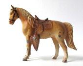 1950s Vintage Toy Horse, Metal Miniature Pony, Cowboy Horses, Palomino, Saddle