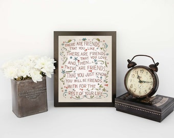 Beautiful watercolor print of Friends quote 5x7