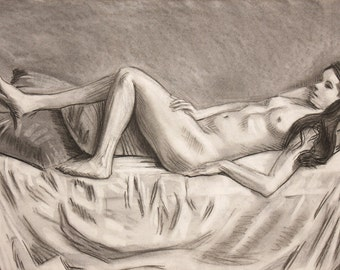 Original Life drawing of female nude Girl charcoal on paper