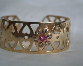 Gold and Rhinestone Cuff Bracelet