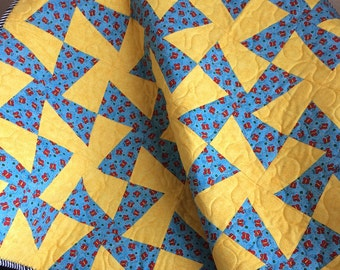 """Red Butterflies, Sky Blue Pinwheels and Big Yellow Squares Altogether In This 37.5"""" X 38"""" Quilt"""