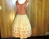 On Sale-Beautiful EMBROIDERED Full Skirted CHERRY Tea Dress