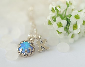 Blue Opal Sterling Silver Necklace - with or without Initial