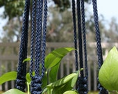 CROWNE ROYALE - Handmade Macrame Plant Hanger Holder with Wood Beads - 6mm Braided Poly Cord in Navy Blue