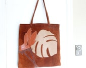Vintage Super Slouchy Buttery Soft Rusty Caramel Distressed Appliqued Leather Suede Purse Bag Shoulder Tote 1970s