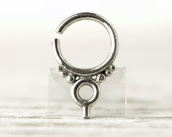 Septum Ring Piercing Nose Ring Body Jewelry Sterling Silver Bohemian Fashion Indian Style 14g - SE004R