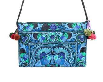Handmade Blue Purse Cross-Over Bag by HMONG Thai Hill Tribe Fair Trade (BG811-BB)
