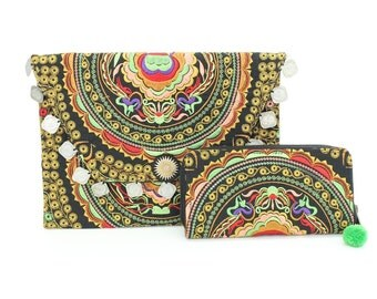 Colorful Embroidered Boho Clutch and Wallet Set of 2 Fair Trade Thailand (ST6639-13P96)