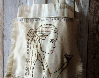 Freedom , embroidered bag with big pocket