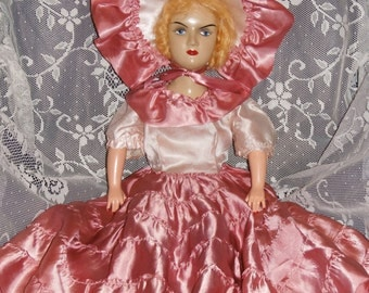 """Beautiful strawberry blonde antique vintage Boudoir doll - 24"""" - bed doll - collectible or gift"""