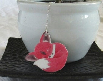 Chibi Fox Jewelry - Red Fox Necklace - Fox Jewelry - Handmade Jewelry - One Of A Kind - Fox Lover Art - Little Fox - Gift For Her - Kawaii