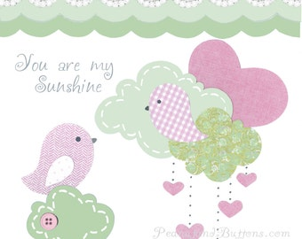 PINK AND GREEN nursery, baby girl wall art, Shabby Chic decor, kids bird bedding, 8x10 Prints, girls wall decor, nursery room art, lace