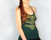 Hawk Totem Tank.......Hand drawn, hand screen printed, green and gold racerback tank top shirt