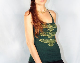 Hippie style Hawk Totem Tank.......Hand drawn, hand screen printed, green and gold racerback tank top shirt