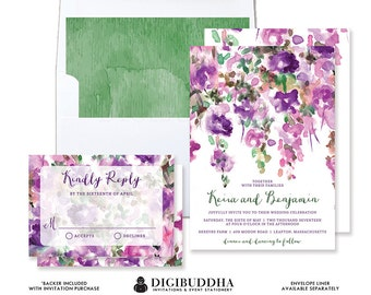 PURPLE FLOWERS WEDDING Invitation & RSvP Whimsical Floral Rustic Invite Plum Green 2 Pc Suite Painted Free Priority Shipping or DiY- Keira