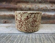 Vintage Brownware Sponge Pattern Bowl Spongeware R.R.P. Roseville vtg Pottery Vintage Country Kitchen Rustic Wedding Decor Old Fashioned