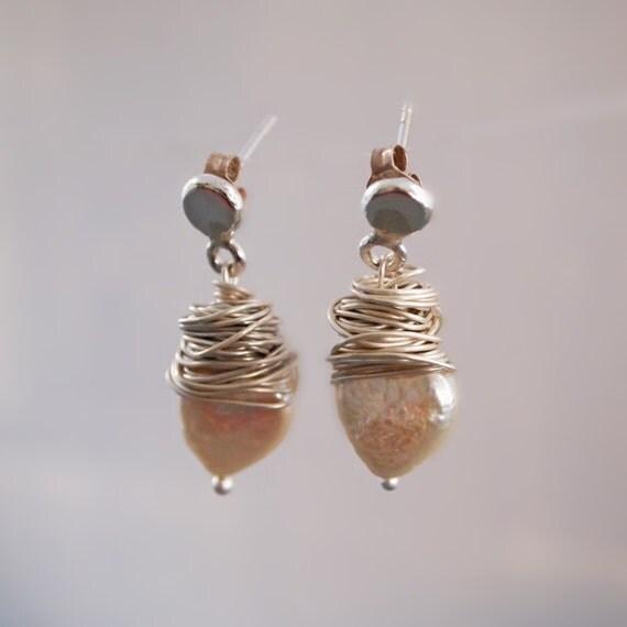 Stud Dangle Pearl Earrings, Heart Shaped White Freshwater Pearl, Drop Pearl Earring, Wire Wrapped, Sterling & Fine Silver