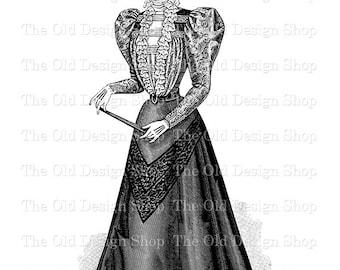 Vintage Lady Clip Art Victorian Fashion Digital Download PNG JPG