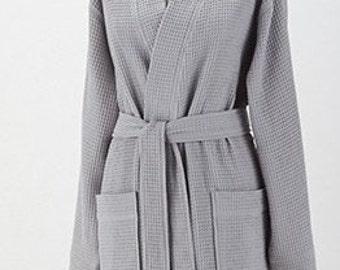Personalized Waffle Weave Kimono Thigh Length Spa Gray Robe Monogrammed