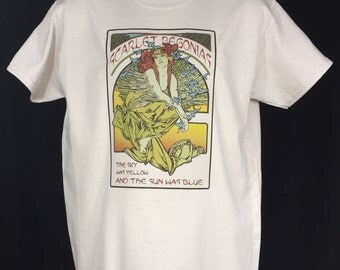 Scarlet Begonias Mucha inspired Grateful Dead lot T Shirt / Mongo Arts / Unisex Tultex- Silver color tee
