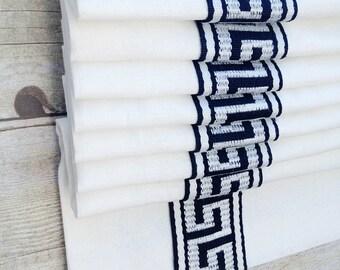 Greek Key Flat Roman Shade Window Treatment   Custom Inset Trim    Designer Quality