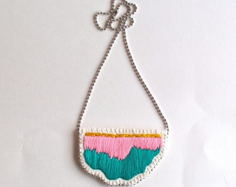 Embroidered abstract pendant necklace in colors of bright pink, emerald green and pretty yellow on a silver ball chain perfect for Spring