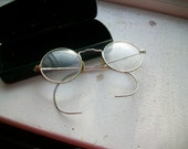 Antique Eye Glasses With Case Silver Colored Frames Art Deco Style