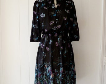 70's Crane Novelty Print Dress Sheer Orchid Black Floral Bird Secretary Dress M L