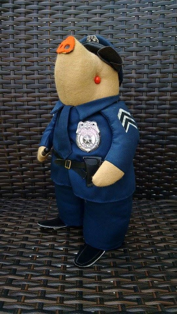 Vintage 1970s Patico Stuffed Animal Collectible Pig In Police