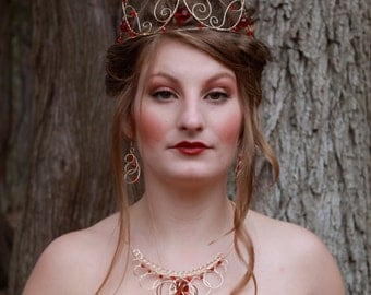 Queen of hearts inspired gold and red wire tiara- The Red Queen Ornate