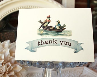 Nautical Birds Thank You Notes set of 5 Rowboat Watercolor Kraft envelopes