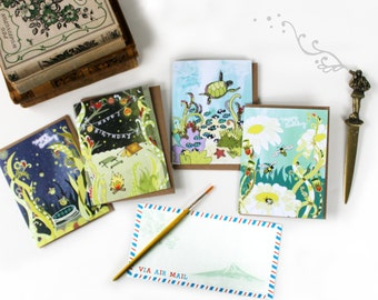 Nature Cards by Cynla SET of 4 // greeting card birthday set