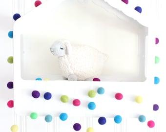 Adventure is Out There Felt Ball Garland- Nursery Decor- Birthday Garland- Rainbow- Playroom Decor- Baby Shower Decor- Nursery ideas