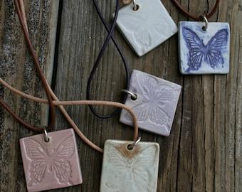 SALE porcelain butterfly pendant